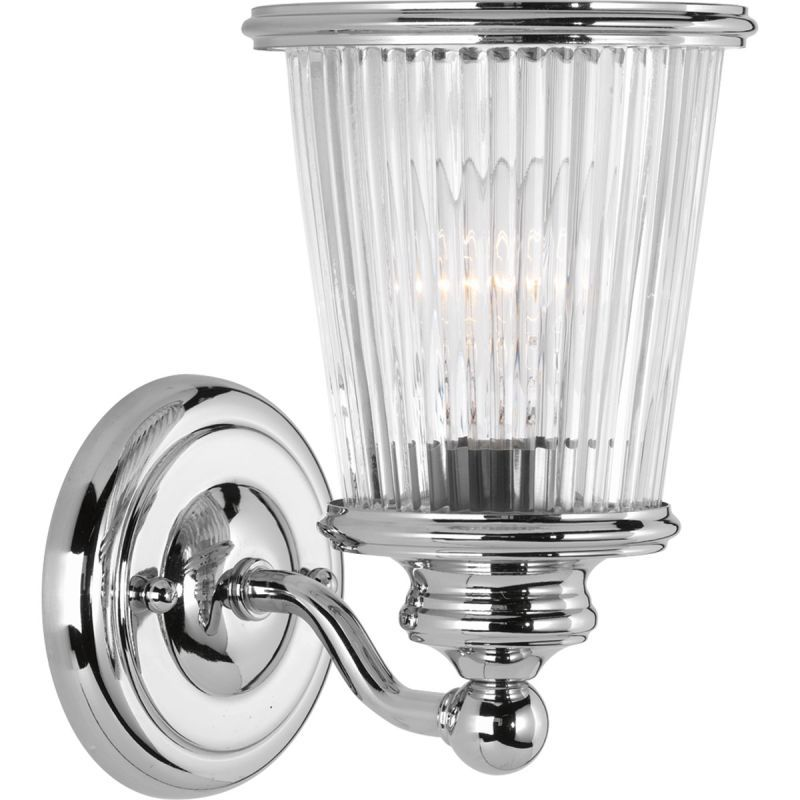 Progress lighting p2169 radiance 9 tall single light bathroom progress lighting p2169 radiance 9 tall single light bathroom sconce with ribbe polished chrome indoor aloadofball Gallery