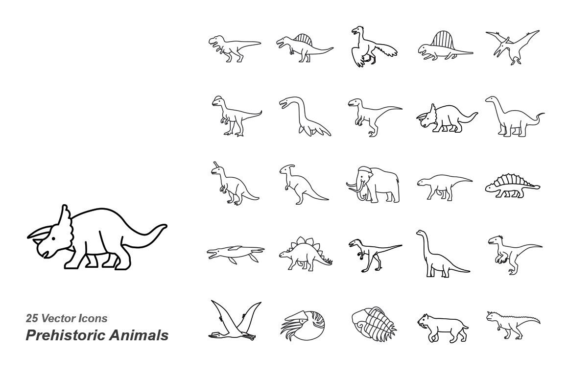 Prehistoric Animals outlines vector #Ad , #spon, #ZIP#Attached#EPS#folder #prehistoricanimals