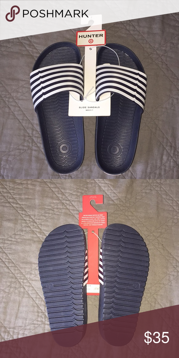 3e9fafb77385 Hunter x Target Slides Hunter Sildes NWT Men s Size 7 Navy and white striped  Hunter Shoes Sandals   Flip-Flops