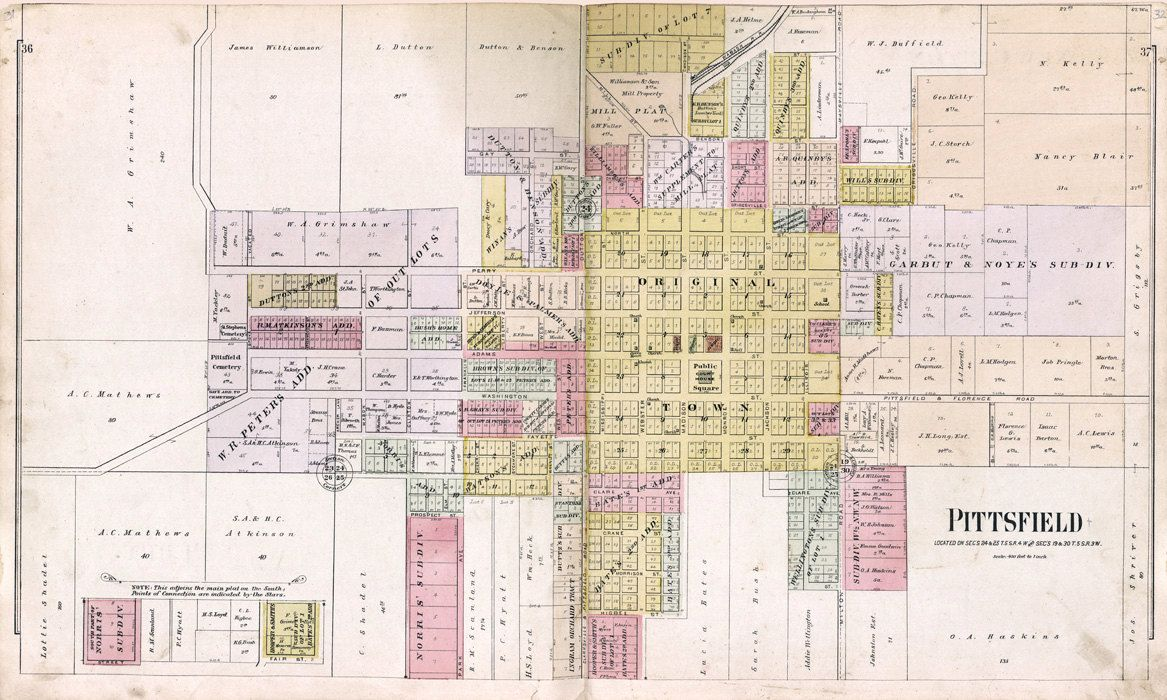 1895 Map Of Pittsfield Pike County Illinois Big Board Of Maps