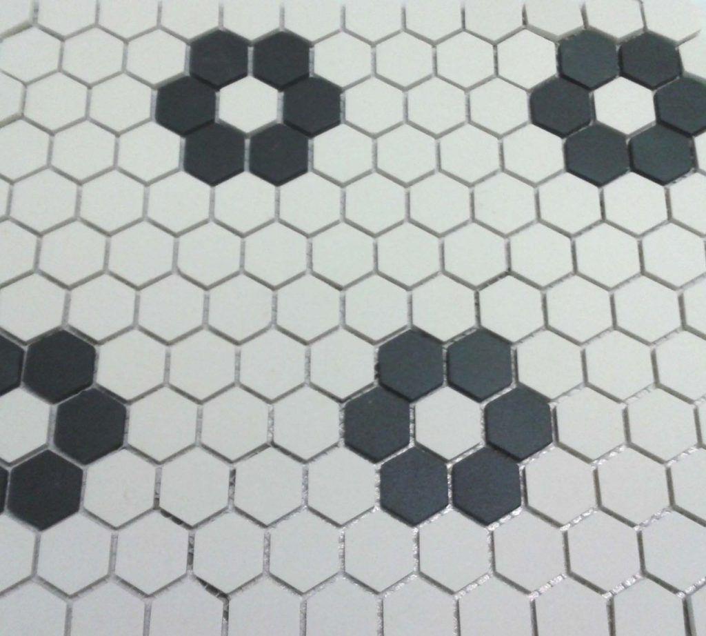 Black and White Hexagonal Bathroom Floor Tile | Tile patterns, Floor ...