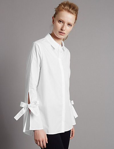 Pure Cotton Poplin Tie Sleeve Shirt Sleeves Designs For