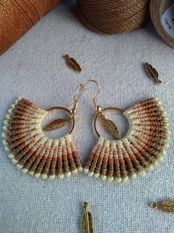 Fan earrings, macrame earrings, boho jewelry, dangle earrings, boho earrings