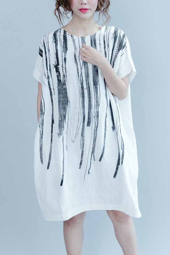 aa5ad04e9f8e White Casual Ink Printing Linen Summer Dresses Women .