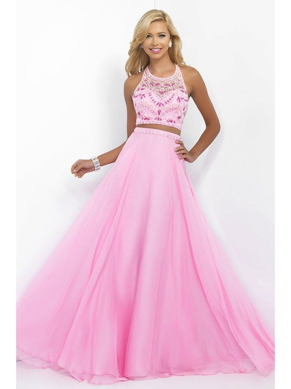 A-Line/Princess Scoop Chiffon Sweep/Brush Train Prom Dress with ...