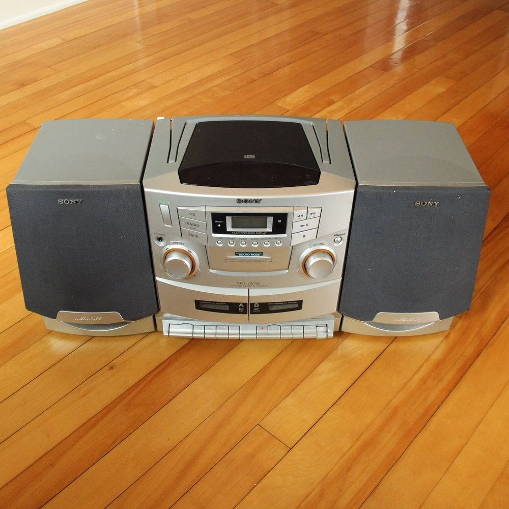 de11e778aa3 Sony CFD-ZW755 CD AM FM Radio Cassette-Corder Boombox Mega Bass Works Great   Sony