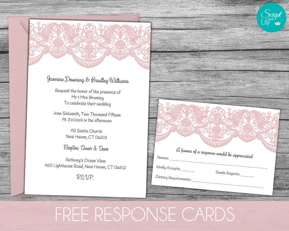 Lace wedding invitation template free response card template lace wedding invitation template free response card template instant download edit text blush pink word or pages pc mac 5x7 by scriptandlily stopboris Choice Image