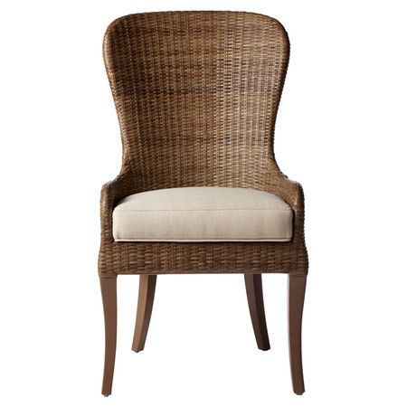 The Subtle Curves And High Back Of This Rattan Dining Chair Pair