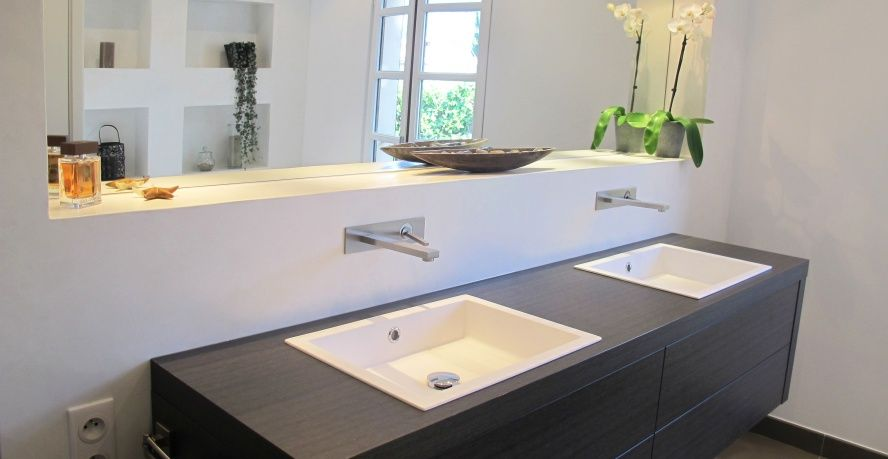 Salle de bain- Lavabo double vasque suspendu Salle de bain