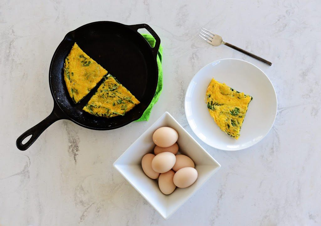 Spinach and Cheddar Frittata - Burn This Mama Down