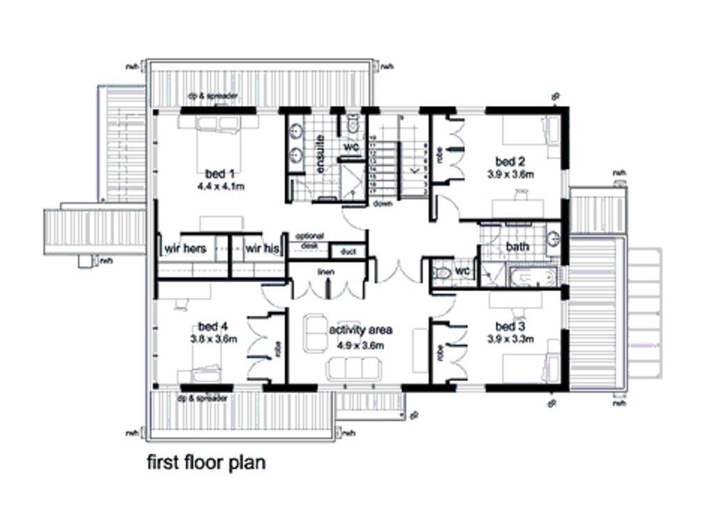 plano planta alta casa grande de dos pisos en 330m2 | Planos Gratis ...