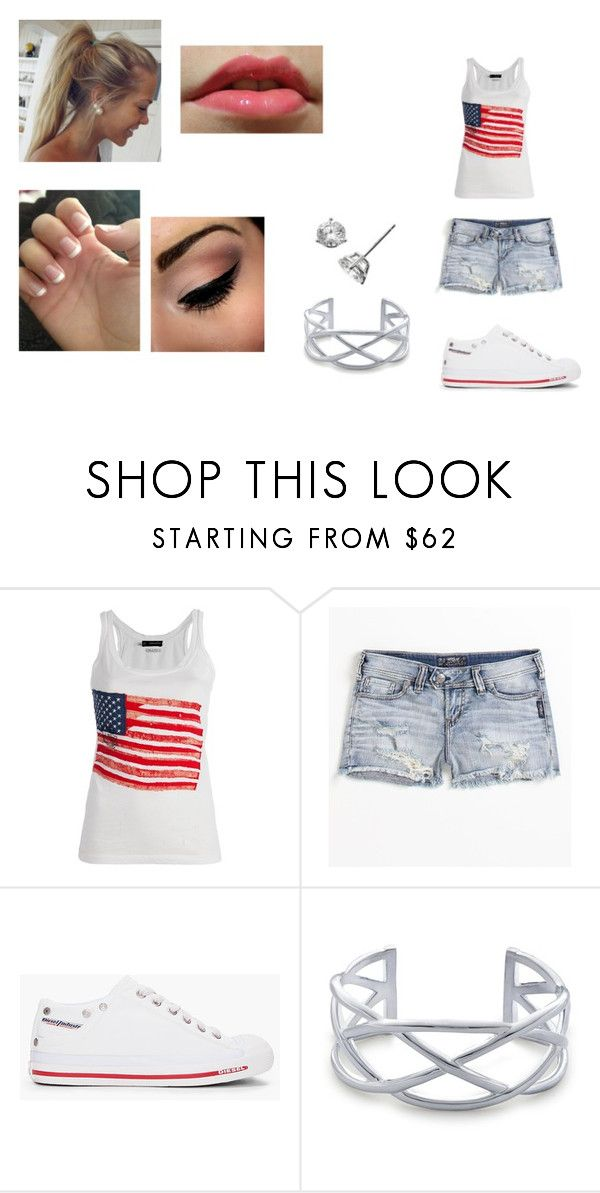 """""""Normal day"""" by cheska14 ❤ liked on Polyvore featuring Dsquared2, Silver Jeans Co., Diesel, Blue Nile, Bony Levy, jean shorts and pony tail"""