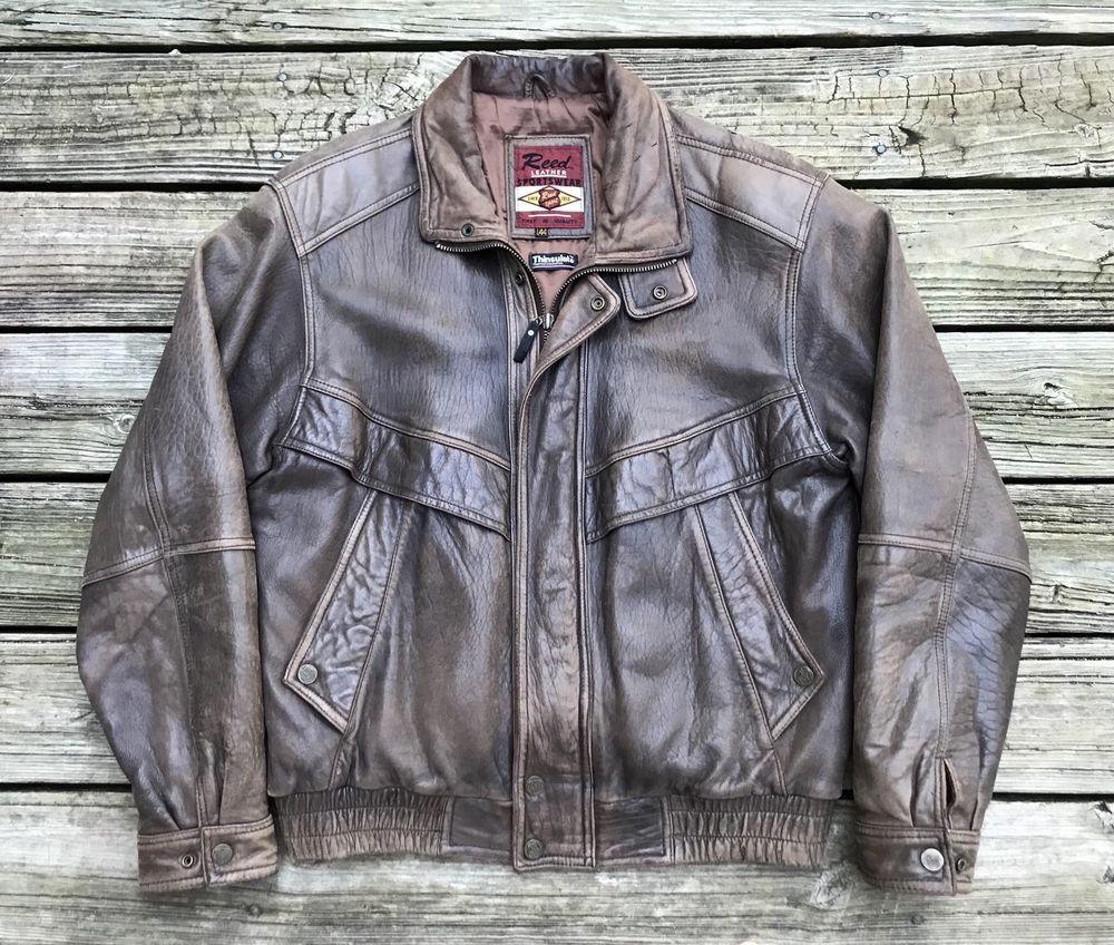Reed Leather Sportswear Brown Leather Motorcycle Bomber Biker Jacket Men S 44l Reed Flightbomber Biker Jacket Men Bomber Jacket Mens Mens Jackets [ 848 x 1000 Pixel ]