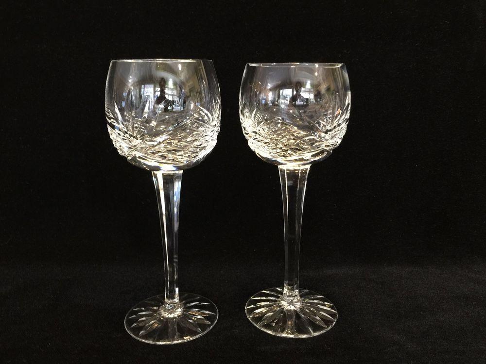 "4 WINE HOCKS GLASSES 7-3//8/"" Lead Crystal Signed Waterford Comeragh Set of"