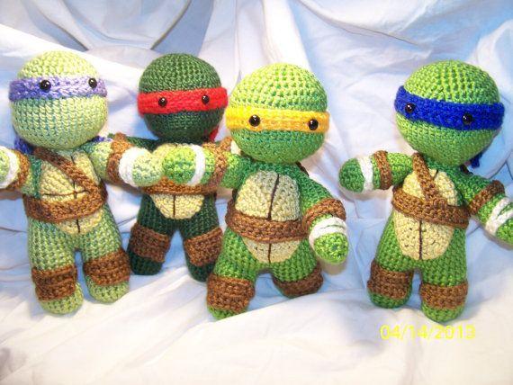 Crochet Teenage Mutant Ninja Turtle Set of all 4 crochet turtle #crochetturtles