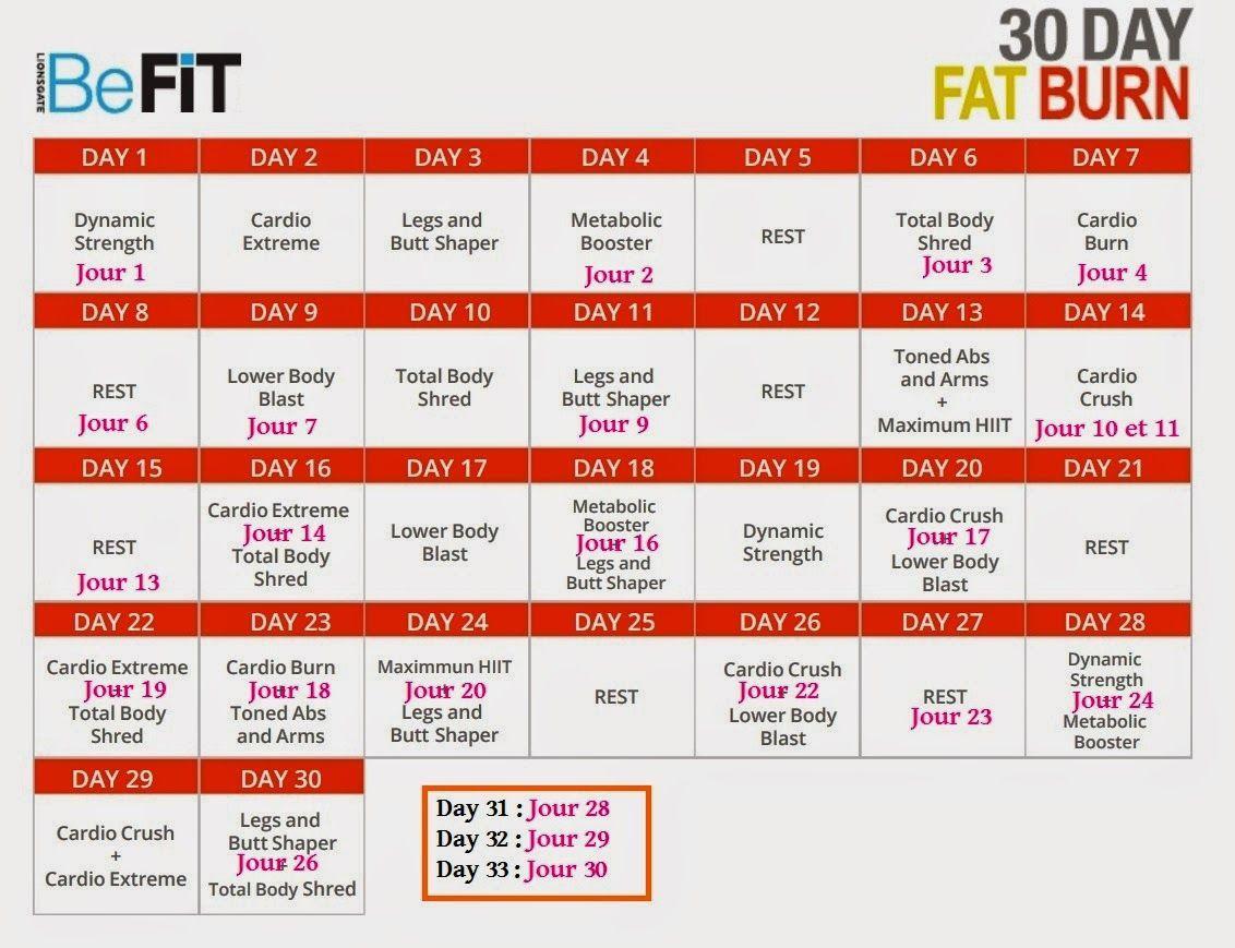 30 days fat burn calendar