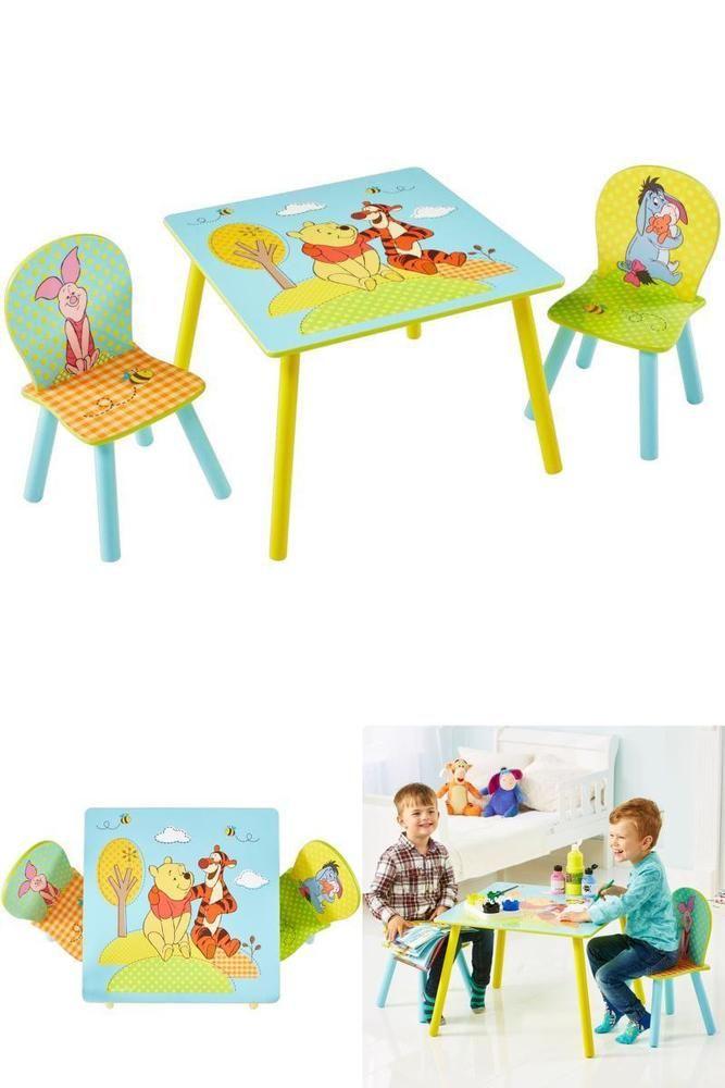 Kids Furniture Set Winnie The Pooh Table Desk Chairs Playroom Boys