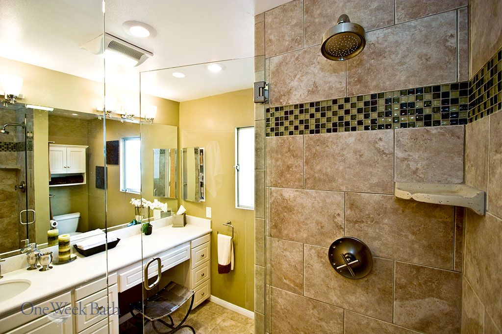 Transitional Design Style Bathrooms By One Week Bath Bathroom Styling Transitional Bathroom Design Transitional Style Bathroom