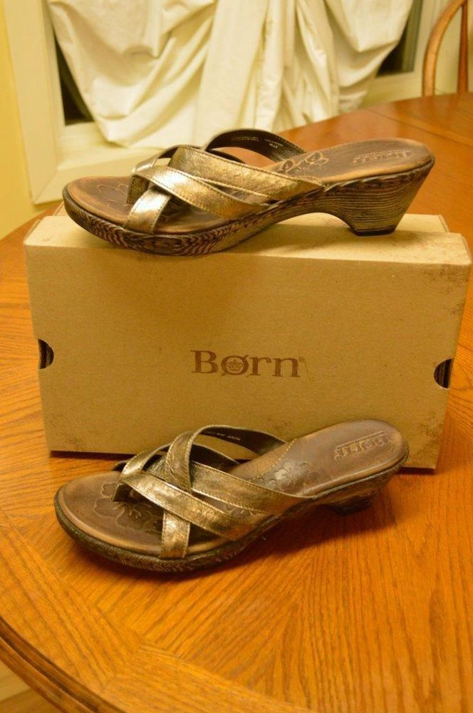 Born Monserrat Strappy Leather Thong Sandals 9/40.5 Pewter Summer Party Cute #Brn #HeeledThong