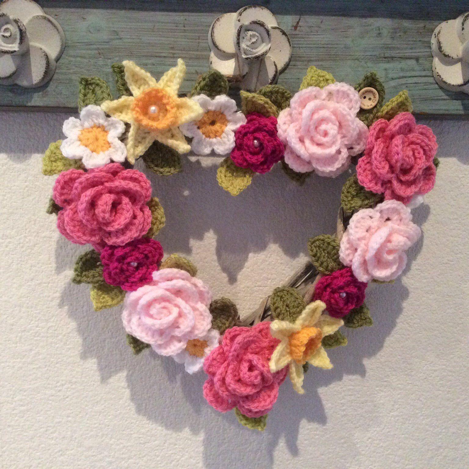 Photo of Crochet flower heart wreath, gift, Mother's Day, wedding, door hanger, decor, 26cm