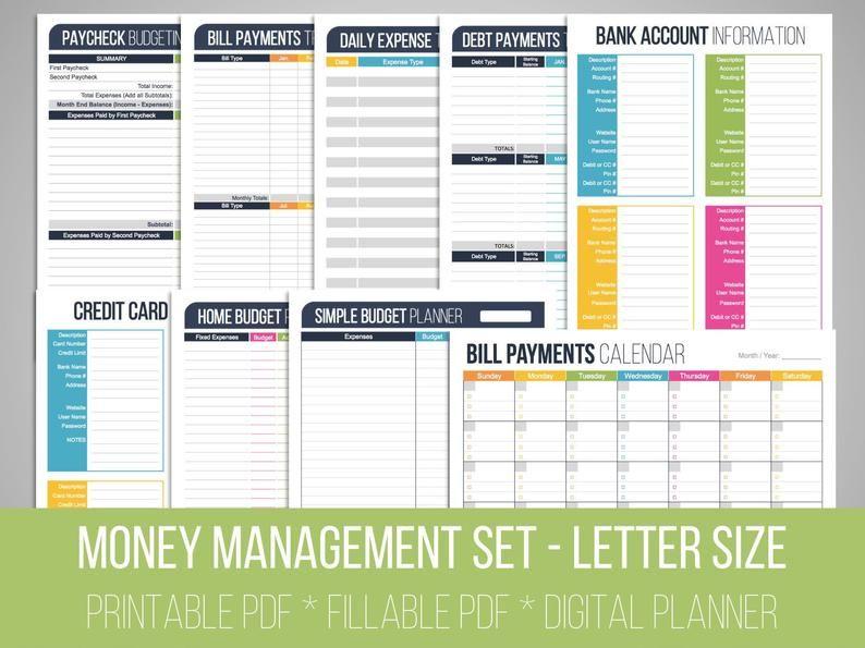 Money Management Set Fillable Financial Printables Bill Etsy Budget Planner Money Management Financial Printables