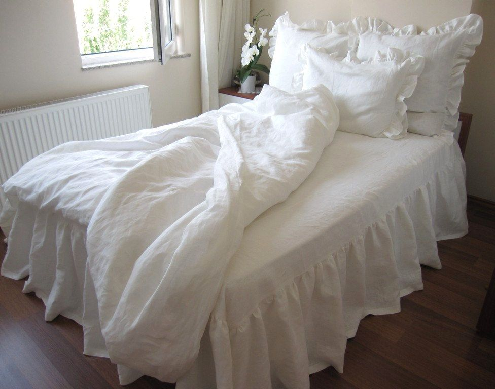 Washed Eggshell White Ivory Linen Ruffle Sham Bedding King