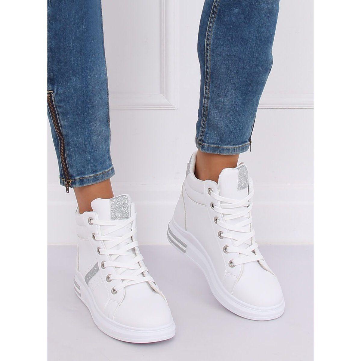 Trampki Za Kostke Biale Cb 19078 White Silver Sneakers High Top Sneakers Top Sneakers