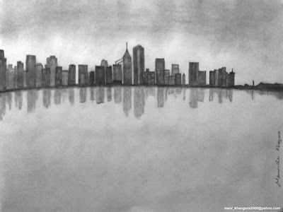 City Under Clouds Pencil Shading Cloud Drawing Drawings Photography City Sketch