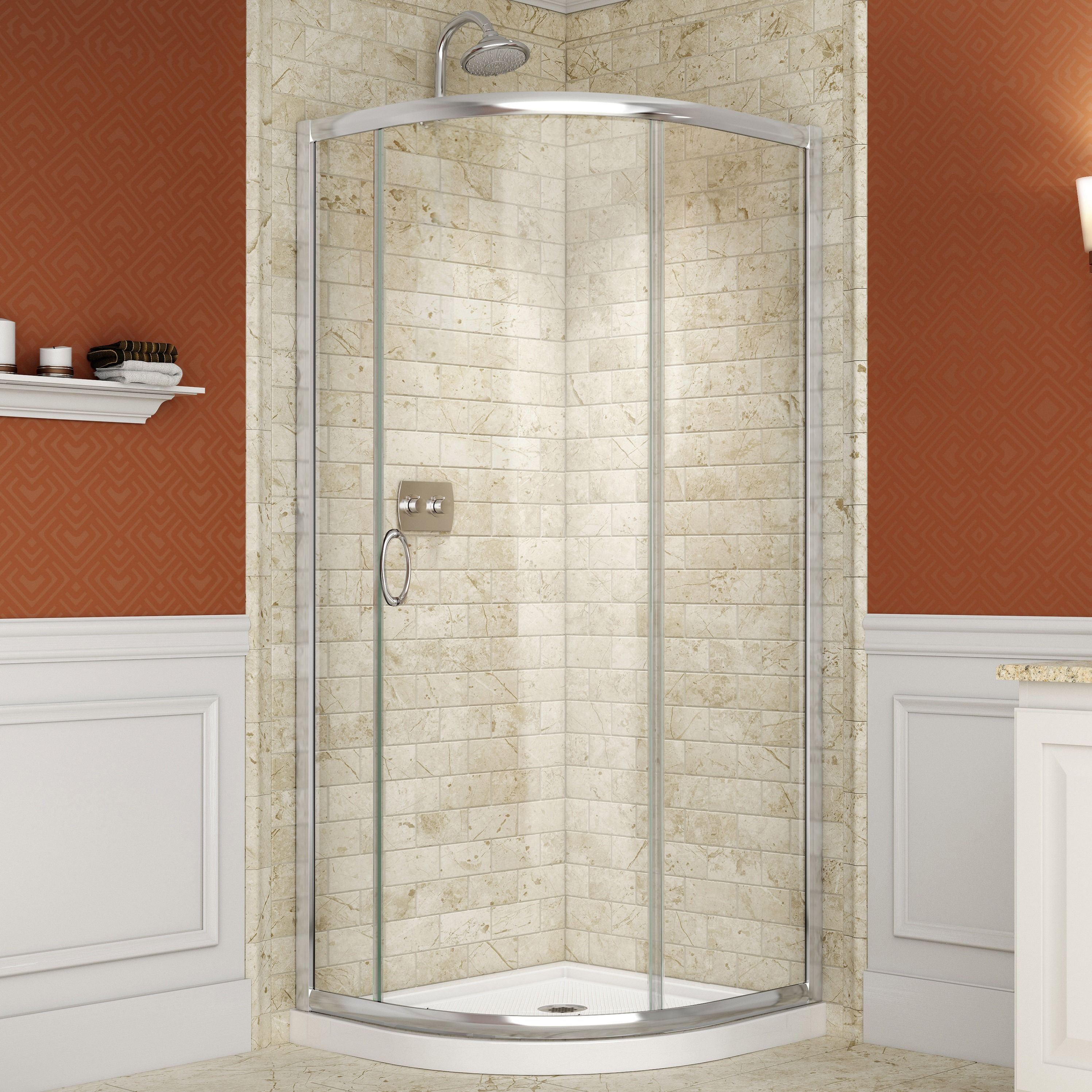 DreamLine Solo Frameless Sliding Shower Enclosure and SlimLine 38 x ...