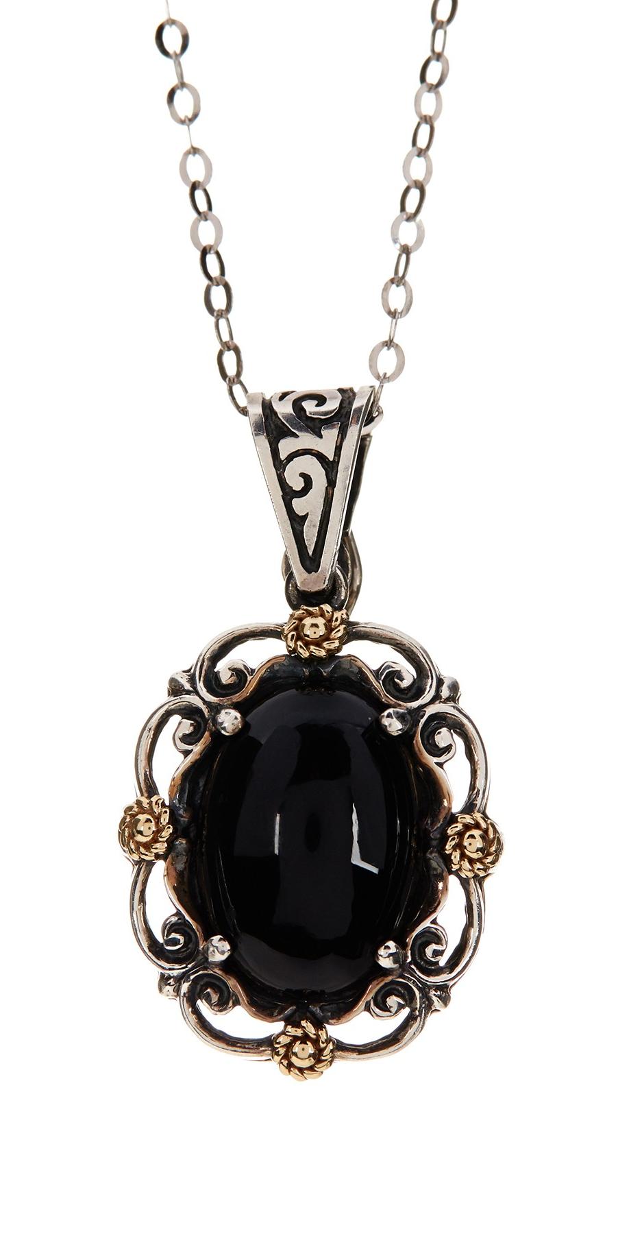 Dani G Jewelry 14K Gold & Sterling Silver Black Onyx Pendant Necklace