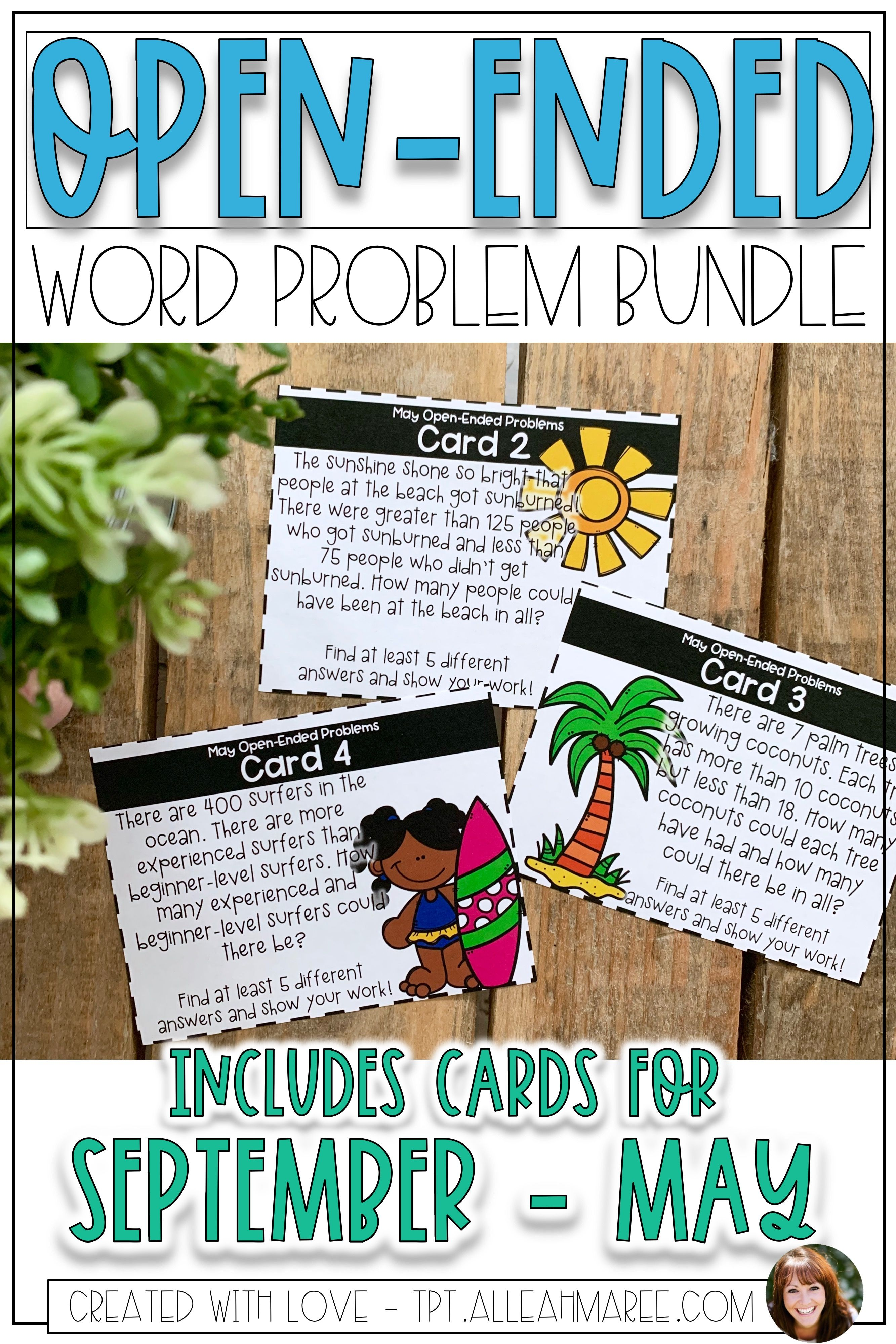 Open Ended Word Problem Task Cards Growing Bundle Open Ended Word Problems Word Problems Word Problems Task Cards [ 3999 x 2666 Pixel ]