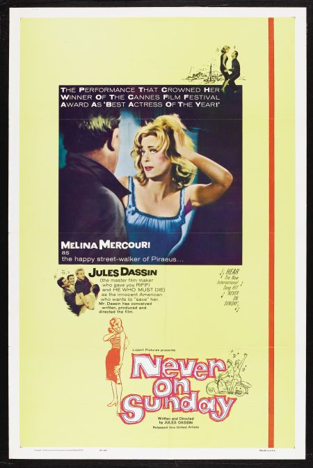 Never On Sunday Lopert Pictures 1960 Comedy Drama Starring