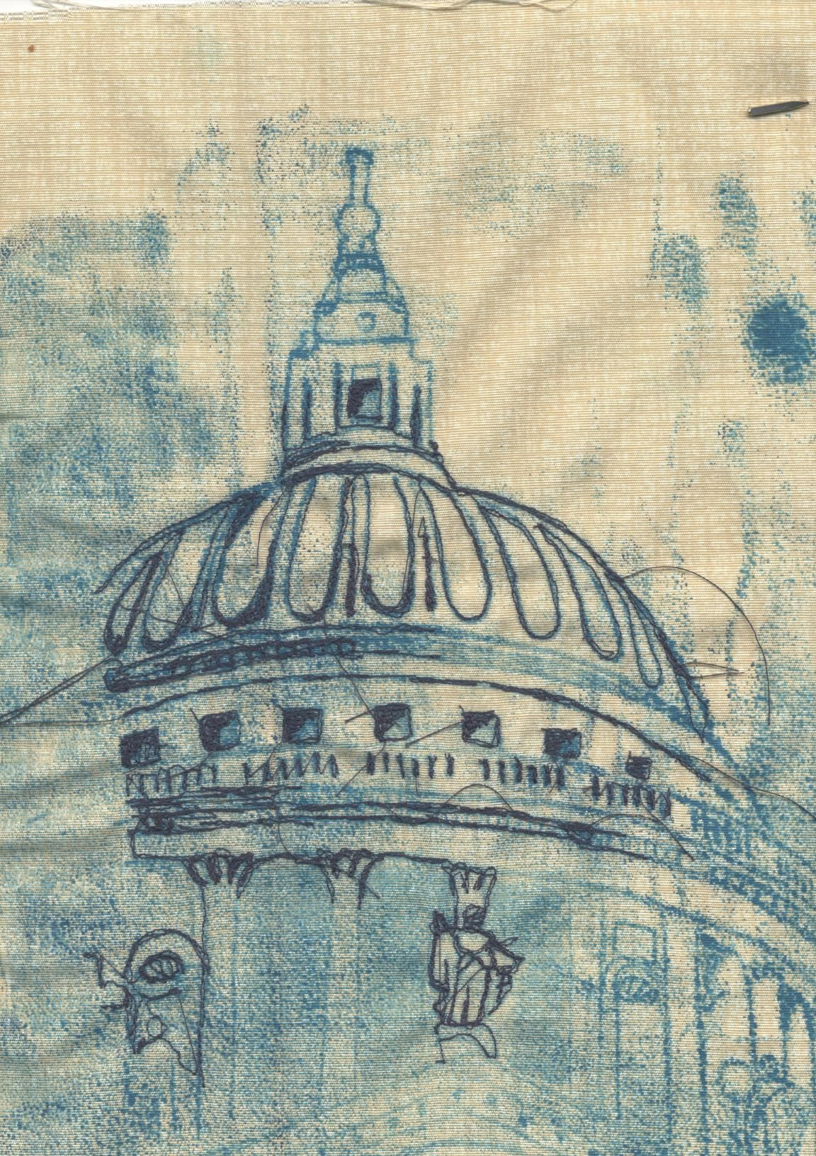 Wendy dolan print on fabric and machine stitch textile for Printing architectural drawings
