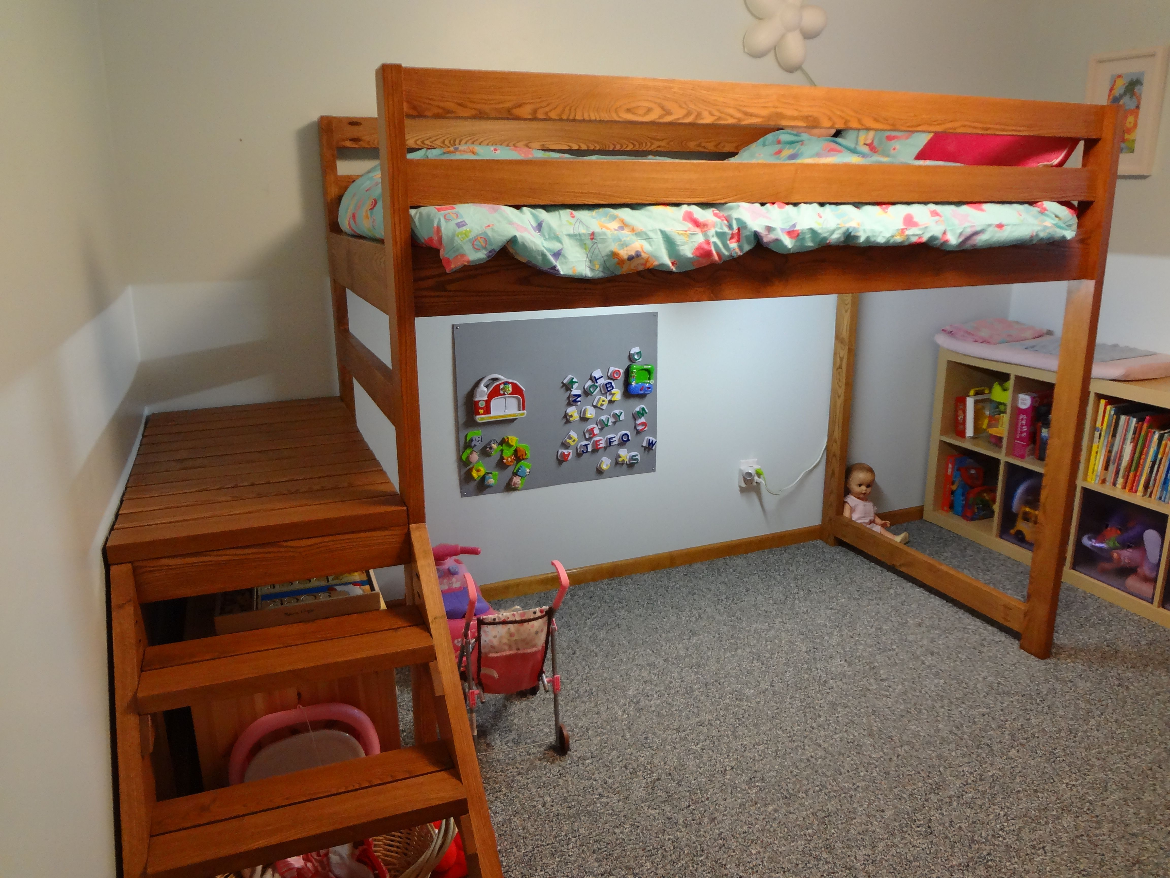 Pin by Sally P on D's Room Loft bed stairs, Loft bed