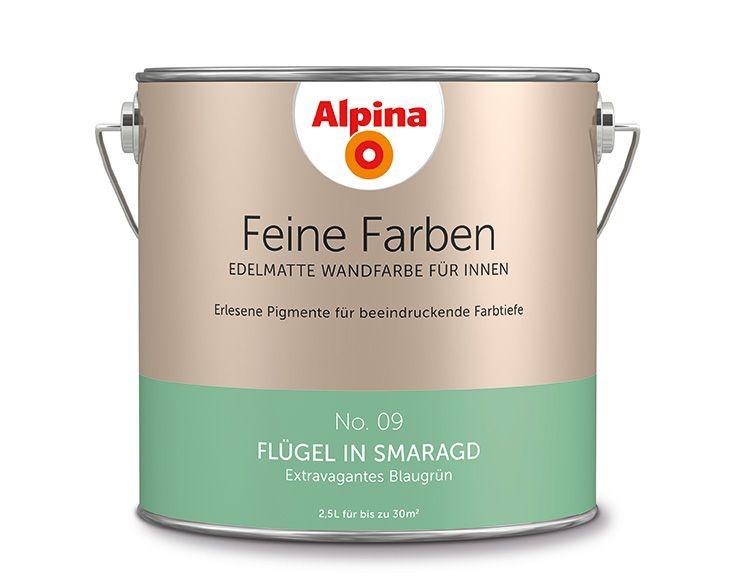 """Alpina Feine Farben """"Flügel in Smaragd"""":  Dieser einzigartige, präsente Ton gibt sich nicht mit nur einem Blick zufrieden. Er möchte Aufmerksamkeit – am liebsten die ungeteilte."""