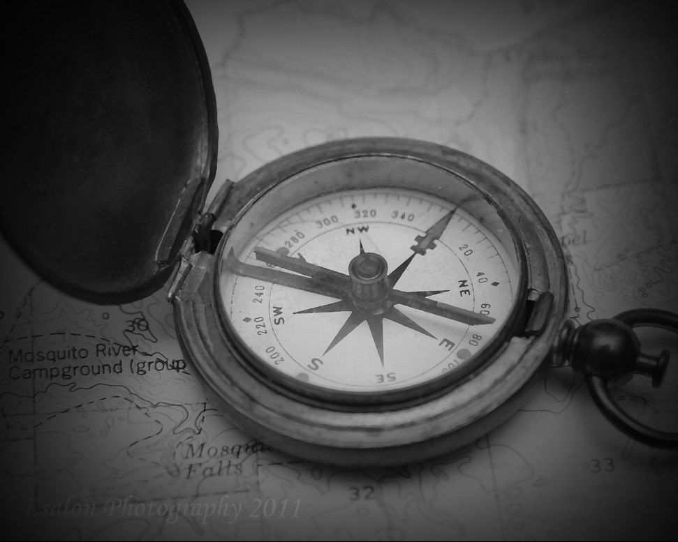 Old Vintage U S Compass On Map This Is An 8x10 Original Black And White Or