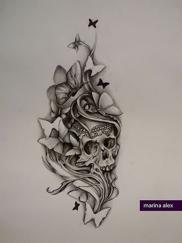 b50feffb5 Skull and butterflies tattoo design | Flickr - Photo Sharing ...