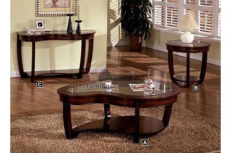 A M B Furniture Design Living Room Coffee Table Sets Crystal Falls Dark Cherry Wood Finish Contemporary Style Abnormity
