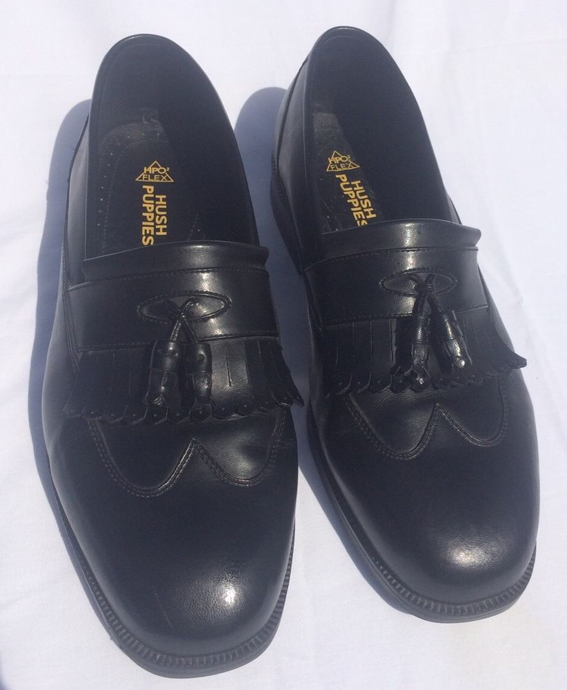 Hush Puppies Black Leather Wingtip Loafers Mens Sized 12 Wide Shoes W Tassel Hushpuppies Loafersslipons Loafers Men Wingtip Loafers Shoes Mens