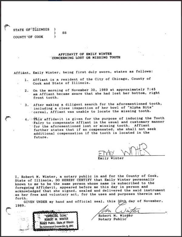 Affidavit for the Tooth Fairy Dental Pinterest Tooth fairy - sample affidavit