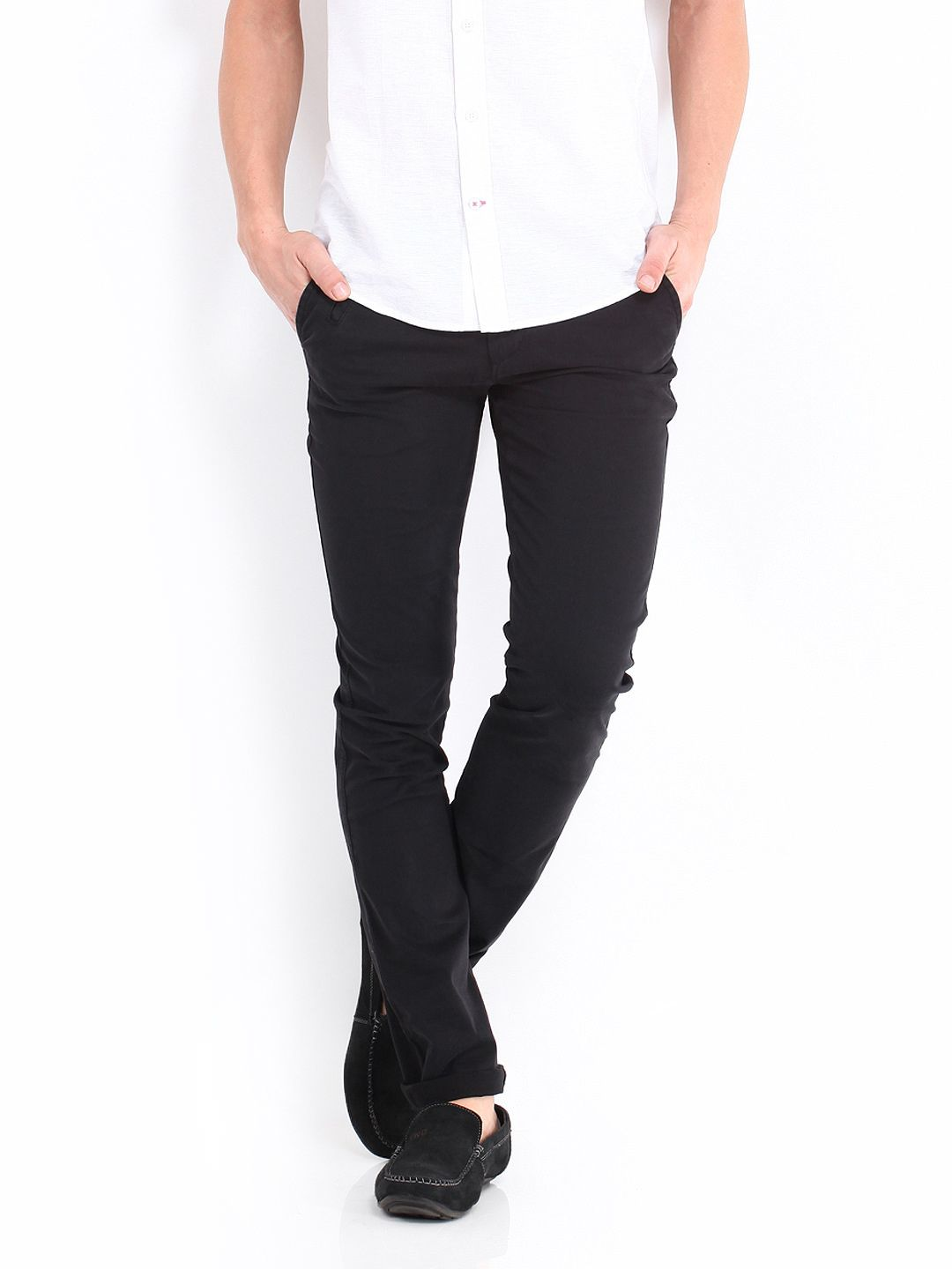 Slim Fit Chinos in Black - 100 Benetton