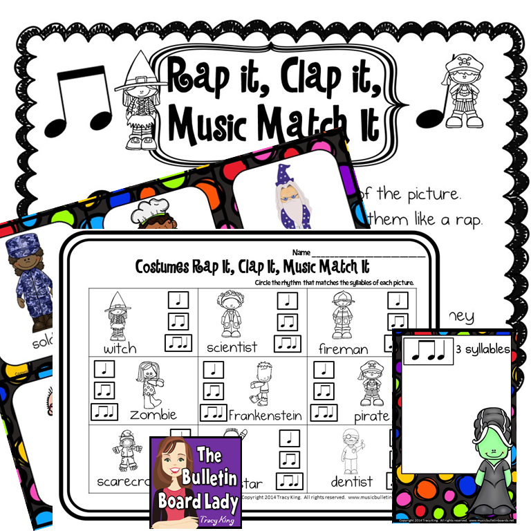 Costume Craziness- work with syllables and very simple rhythms with this fun Halloween themed (without being spooky!) activity.  Whole group, workstations or individual work.  LOVE this!!!  My first and second graders will love it too!