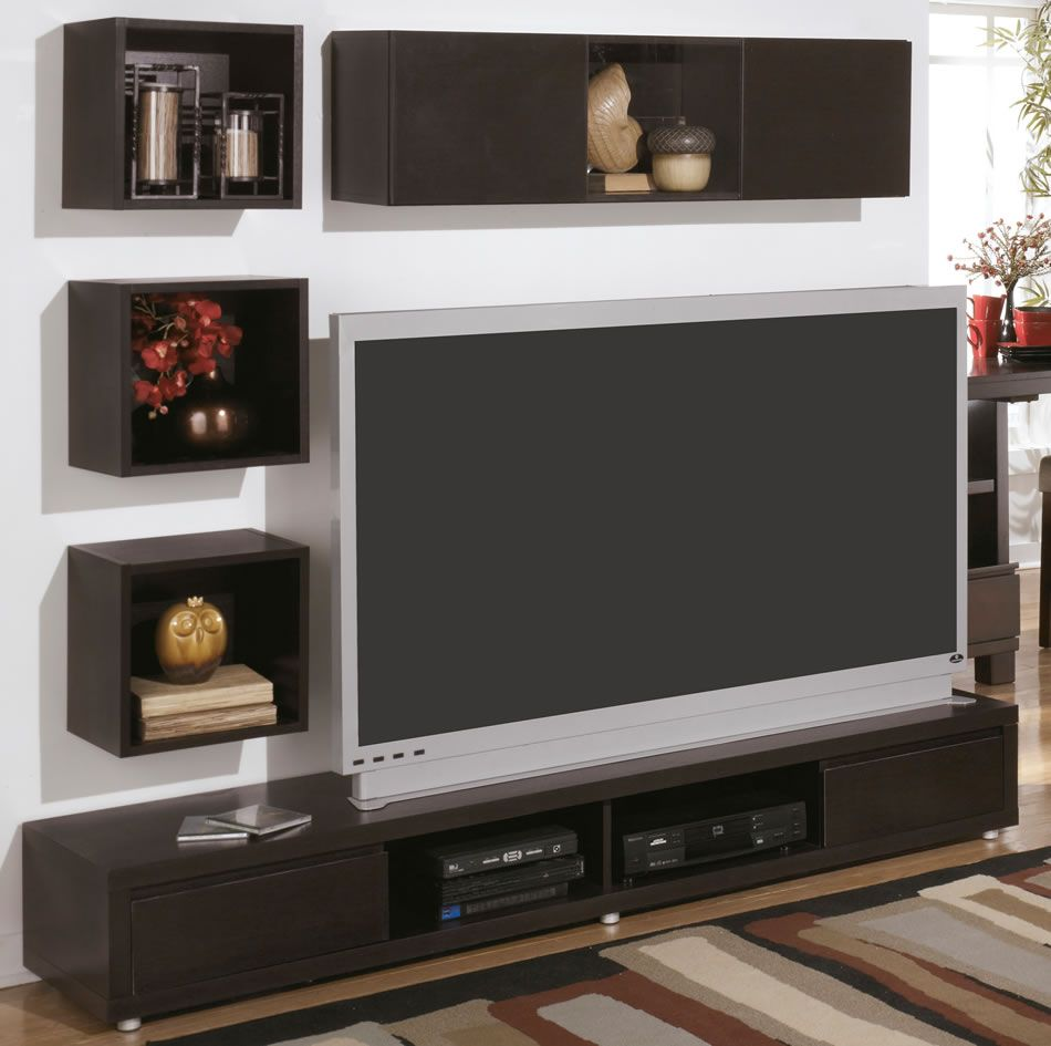Modern wall mount tv stand and floating shelf decor idea for Wall mounted tv designs living room