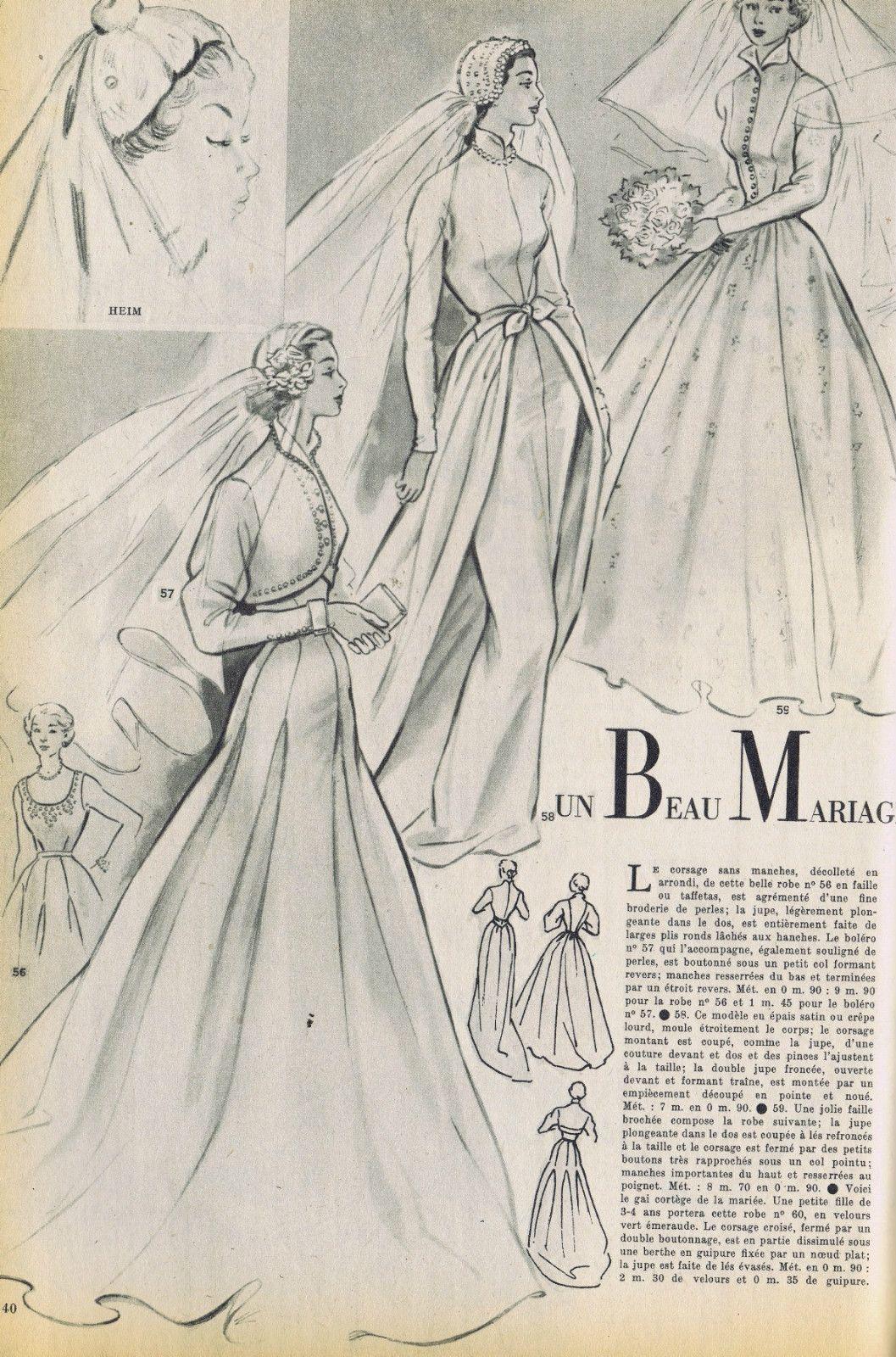 Vintage French Modes Travaux 50s Catalog Bridal Fashion