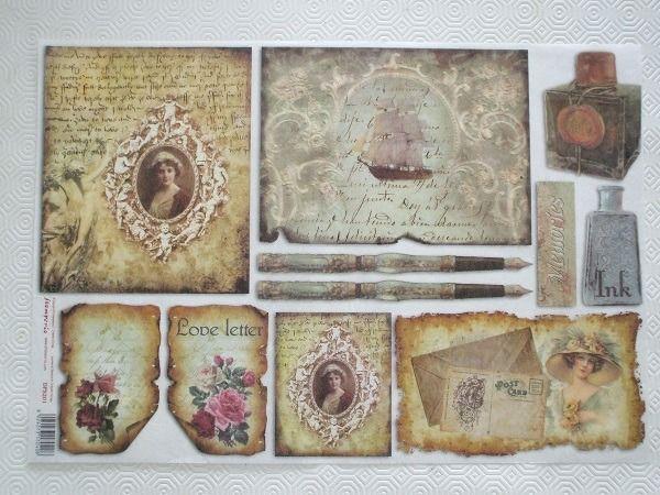 papier de riz grand format 48cm x 33cm th me r tro vintage post card voilier femme retro. Black Bedroom Furniture Sets. Home Design Ideas