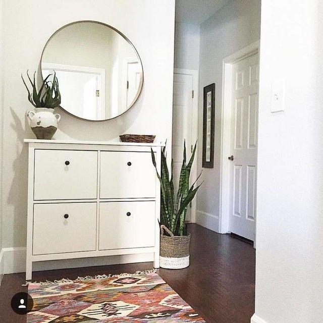ikea hemnes shoe cabinet round mirror. good for dark