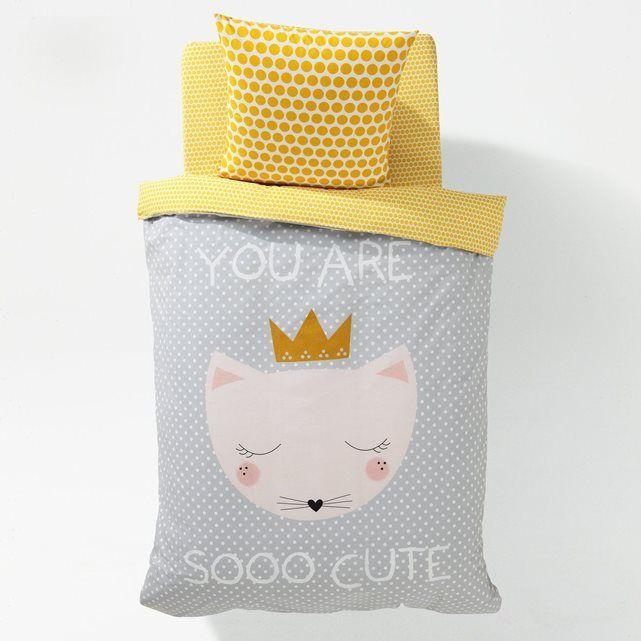 linge de lit imprimé, chat cute | fille chat, couette imprimée et