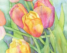 Tulips Watercolor Painting Giclee Print 8 x 10 (8.5 x 11)