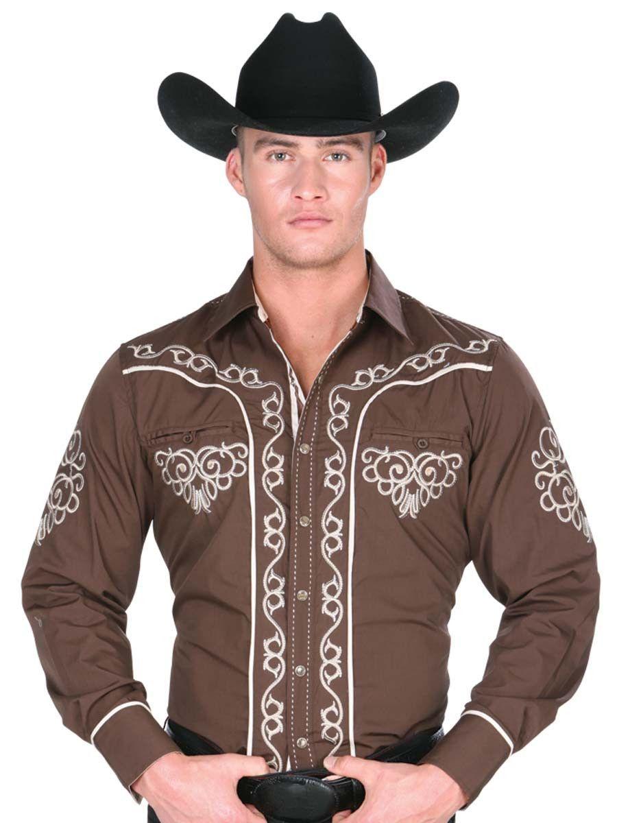 32890 Camisa Vaquera Caballero El General, 65% Polyester 35%Cotton - Brown