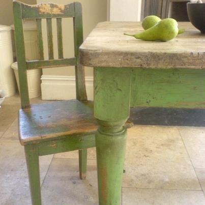Apple green chalk paint on a farmhouse table and chair  Buenas